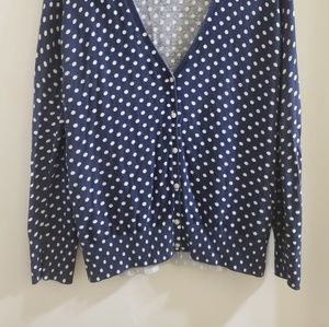 Old Navy Sweaters - Navy Blue Cardigan with White Polka Dots